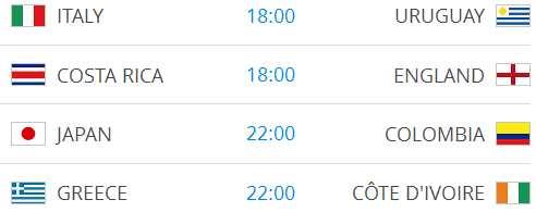 Raspored utakmica na Svjetskom nogometnom prvenstvu-13
