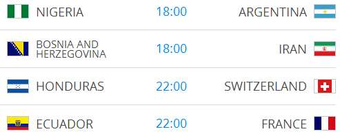 Raspored utakmica na Svjetskom nogometnom prvenstvu-14