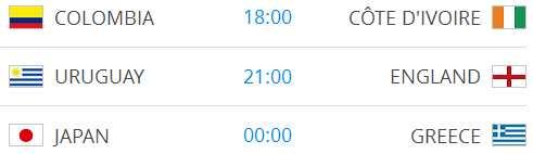 Raspored utakmica na Svjetskom nogometnom prvenstvu-8